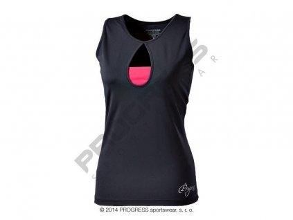 Progress TORA dámské sportovní fitness tílko černá/růžová (Varianta XL)