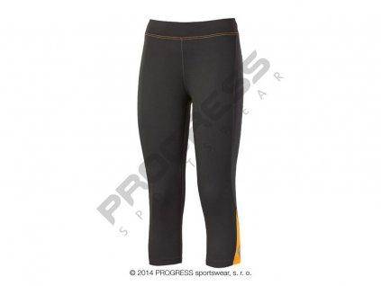 Progress OLYMPIA 3Q dámské sportovní 3/4 elasťáky černá/oranžová (Varianta XL)