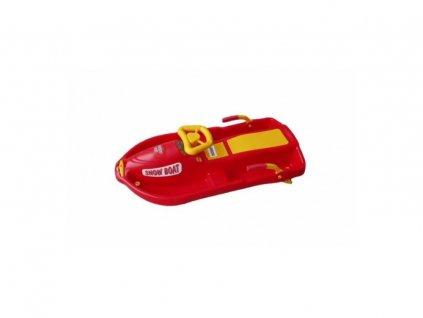 kluzák s volantem Snowboat červený