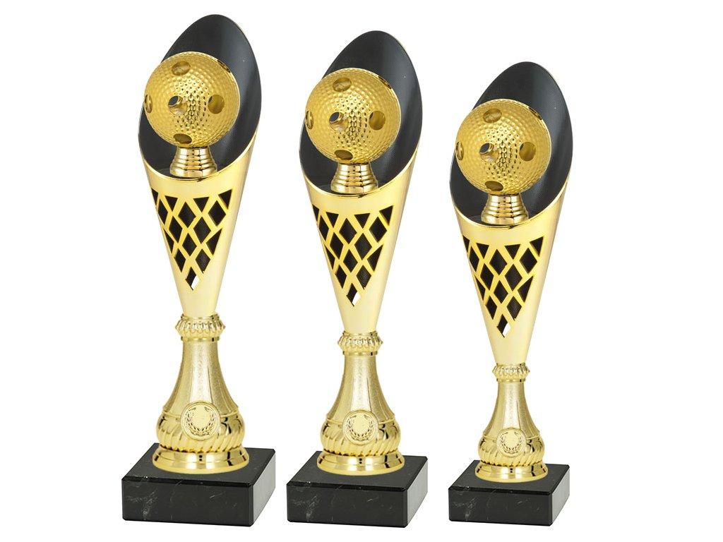 sportovni pohar trofej CP301 florbal mic zlaty sada