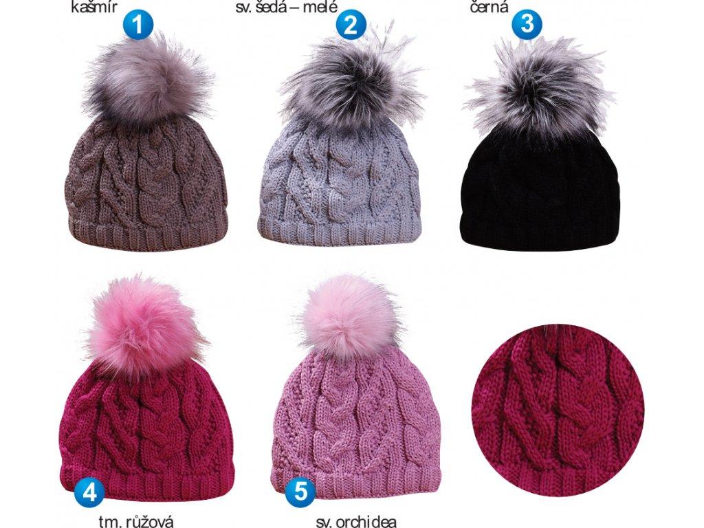 Pletex L449 dámská pletená zimní čepice  3fe34362873