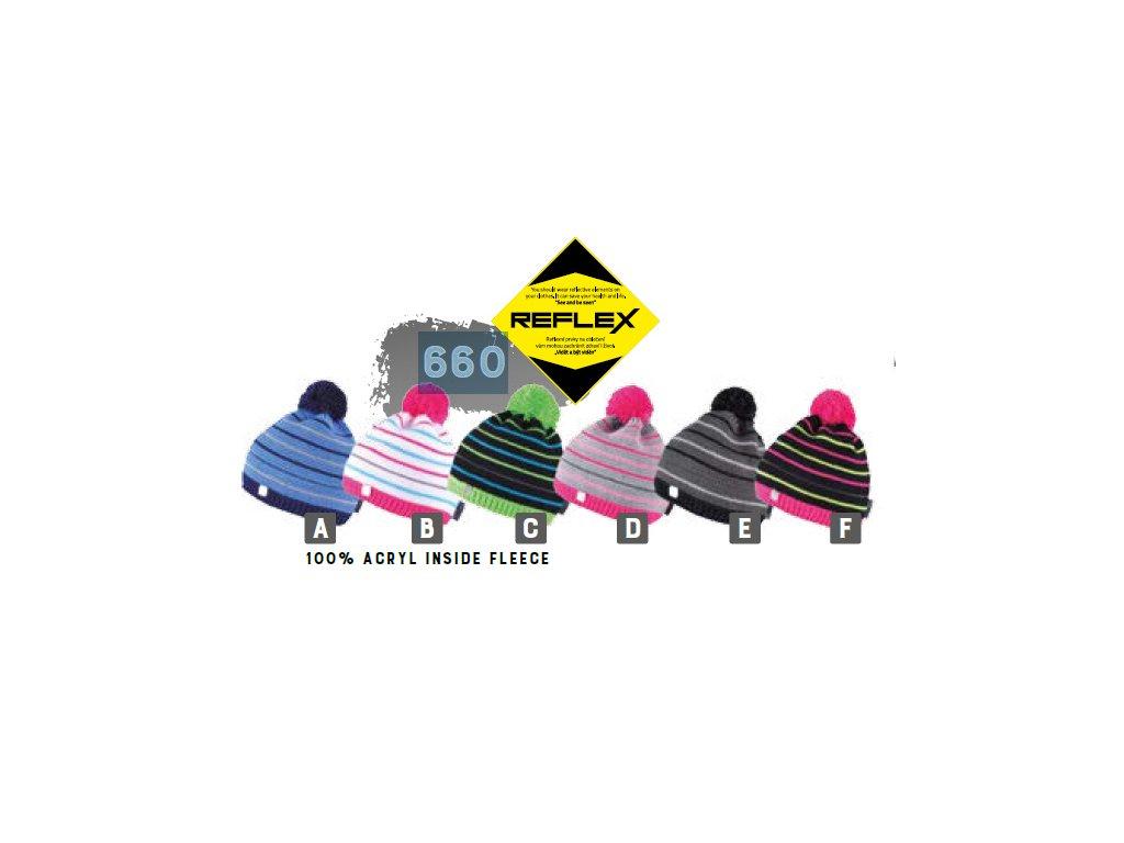 Capu 660 Reflexní dětská pletená zimní čepice  4ab9fac1b0