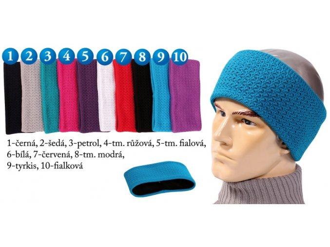Pletex 547 pletená široká čelenka