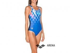 Arena W BOUNCY V BACK ONE PIECE MODRÉ dámské plavky