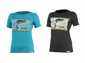 Lasting Lake dámské vlněné merino triko s tiskem