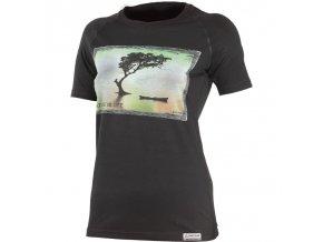 Lasting Lake dámské vlněné merino triko s tiskem 9090 černé