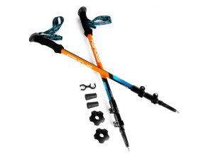 Spokey ZION Trekingové hole 3-dílné, modro-oranžové