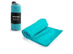 Spokey MANDALA Rychleschnoucí sportovní ručník, tyrkysový, 80x160cm