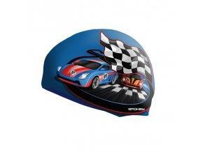 STYLO Junior Dětská plavecká čepice modrá závodní auto