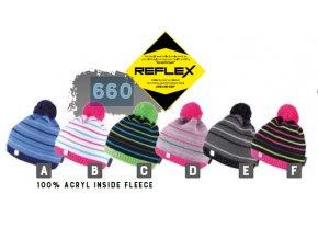 Capu 660 Reflexní dětská pletená zimní čepice