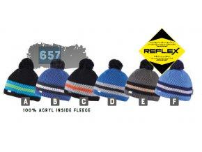 Capu 657 Reflexní dětská pletená zimní čepice