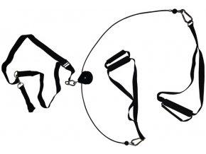 Multifunkční závěsný posilovací systém (TRX popruhy) s kladkou