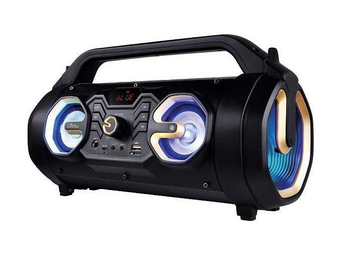Díky zesílenému pouzdru, vestavěné baterii (až 4 hodiny výdrže) a ramennímu popruhu, který zvyšuje mobilitu zařízení, je reproduktor vhodný k nošení ven.