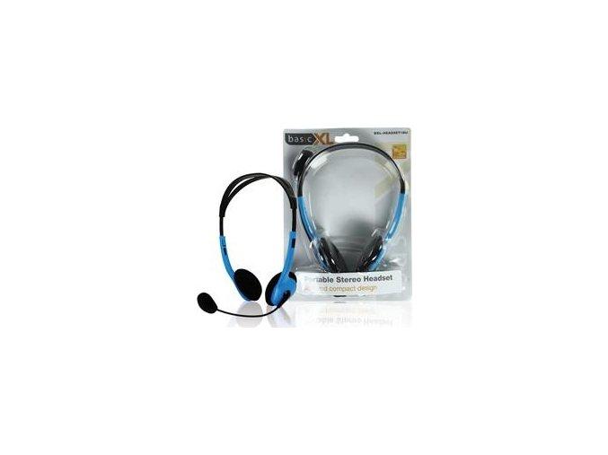 Stereofonní sluchátka s mikrofonem Basic XL BXL-HEADSET1BU