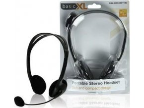 Stereofonní sluchátka s mikrofonem Basic XL BXL-HEADSET1BL