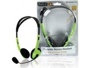 Stereofonní sluchátka s mikrofonem Basic XL BXL-HEADSET1GR