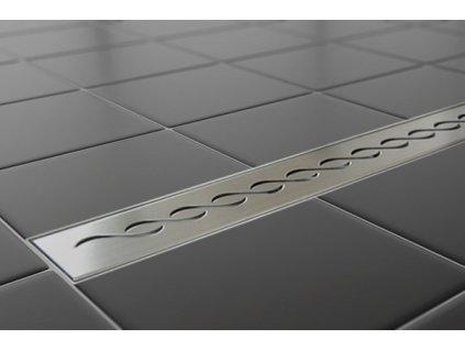 Sprchový podlahový žľab 50 cm - vlnky 50M01