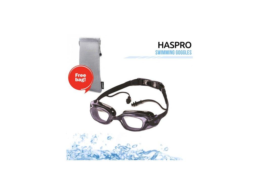 Haspro plavecké brýle se špunty do uší  Haspro brýle + špunty černé