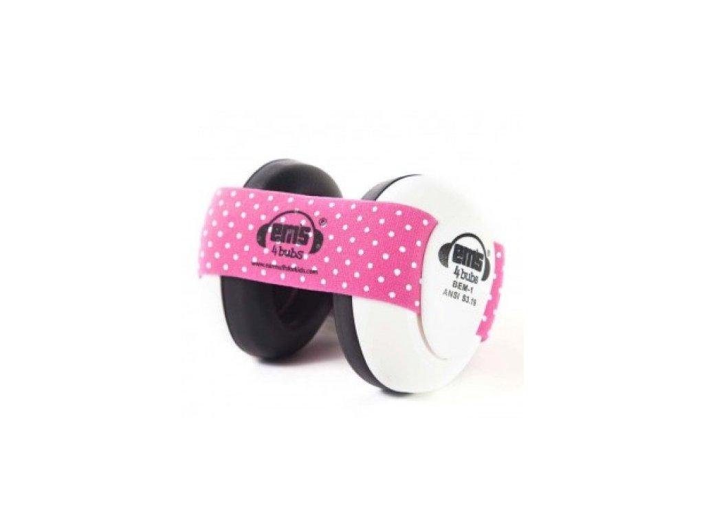 Em's 4 Bubs - chrániče sluchu pro batolata růžová/bílá  Ems bílo - růžové