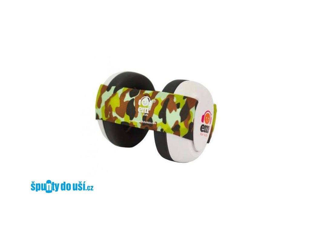 Em's 4 Bubs - chrániče sluchu pro batolata bílá - maskáčová  Ems bílo - maskáčové