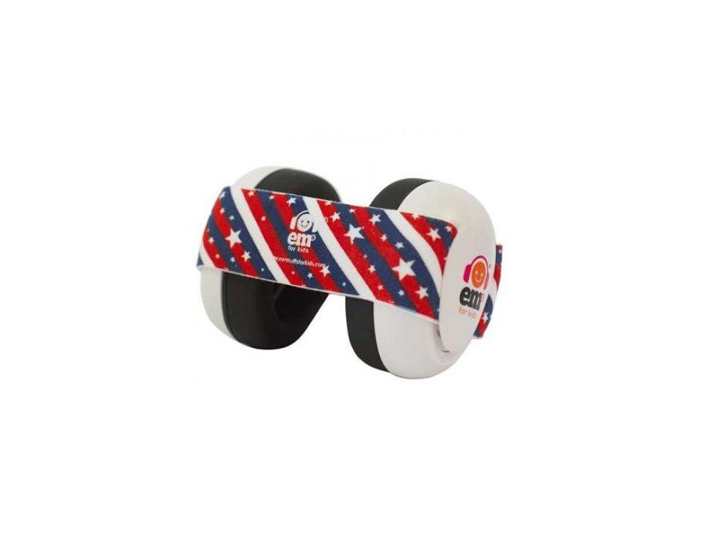 Em's 4 Bubs - chrániče sluchu pro batolata bílá - us flag  Ems bílo - us vlajka