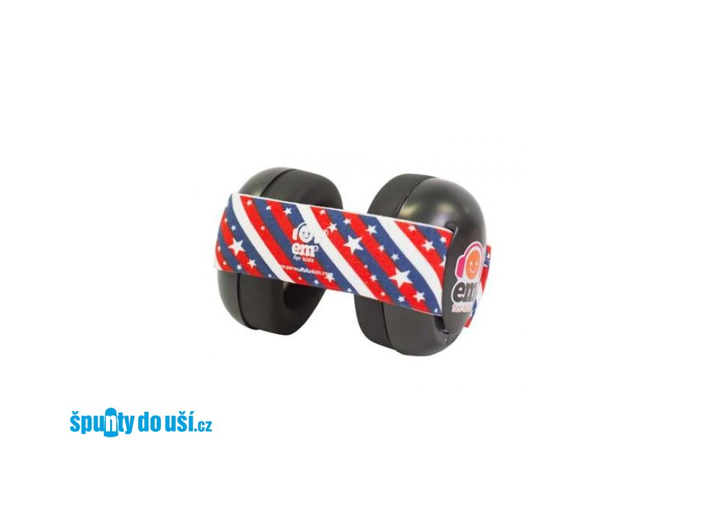 Em's 4 Bubs - chrániče sluchu pro batolata černá - US flag  Ems černo - us vlajka