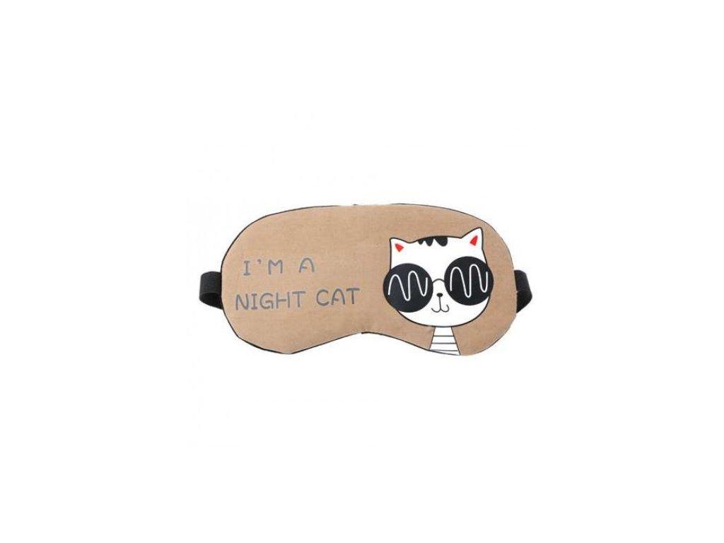 Maska na spaní CAT - hnědá  Maska CAT hnědá