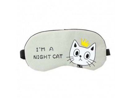 Maska na spaní CAT - šedo/zelená  Maska CAT šedo-zelená