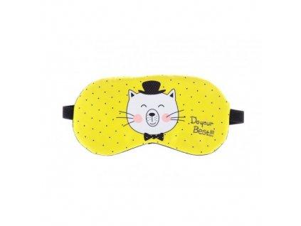 Maska na spaní - Kocour  Maska - Kocour žlutá