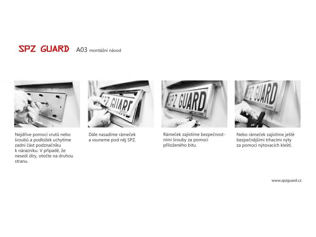 SPZ GUARD A03 bezpečnostní rámeček na registrační značku (RZ) - nerez, celokovový podznačník, podložka SPZ