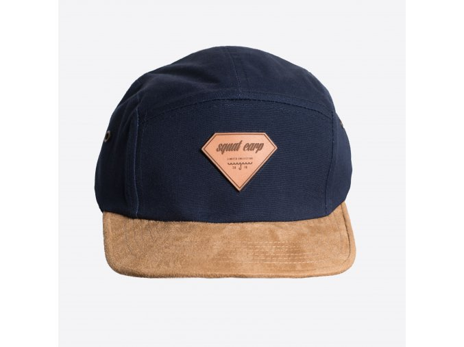CAP LEATHER BLUE FRONT