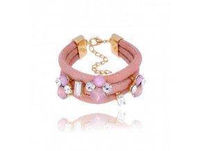 Kožený, světle růžový náramek BMS0446