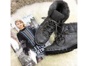 Kotničkové boty s kožíškem GREY