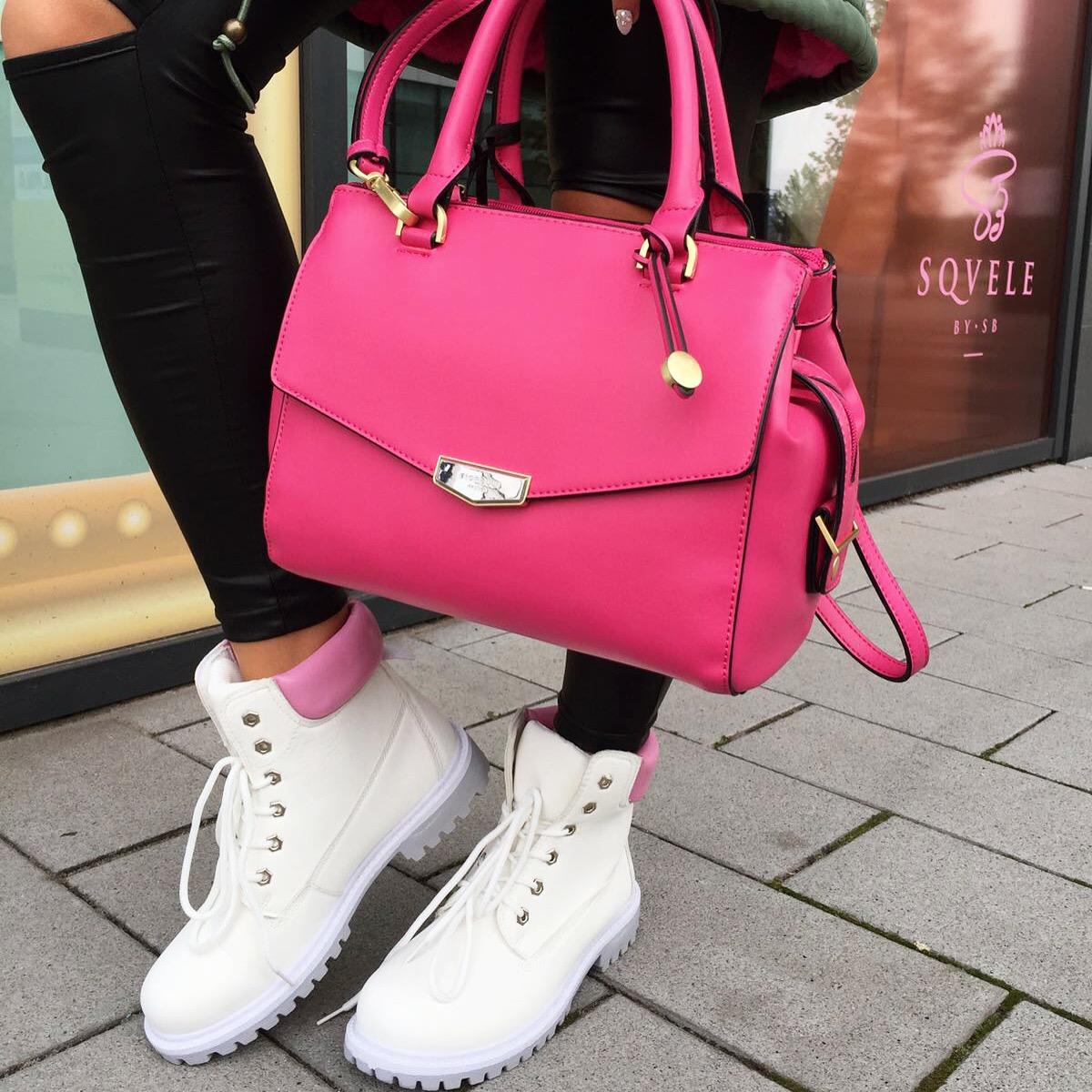 Růžová kožená kabelka Fiorelli