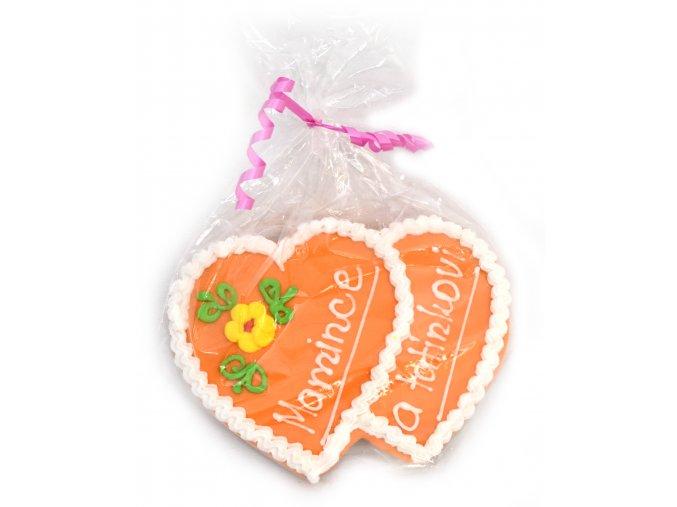 dvoj srdičko oranzové malé