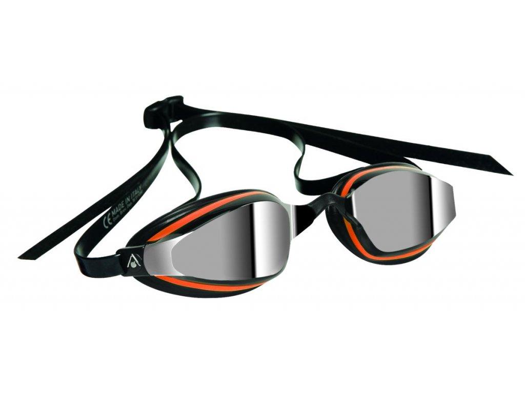 Michael Phelps Aqua Sphere plavecké brýle K180+, zrcadlový zorník, černá/oranžová