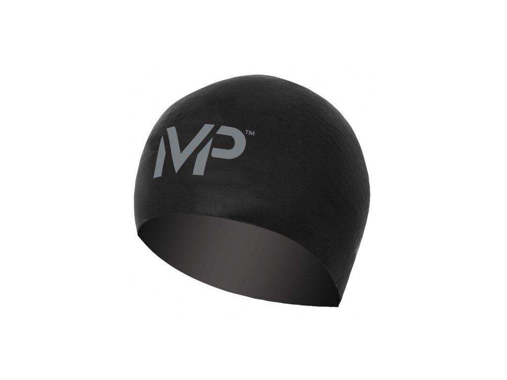 Plavecká čepice race cap černá stříbrná