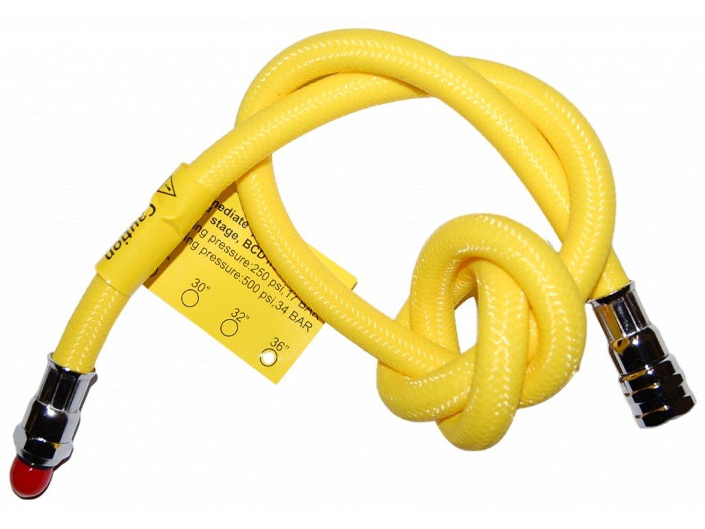 """JTLine hadice LP k automatice, flexibilní, žlutá, opletená, 91cm / 36"""", obdoba Miflex"""