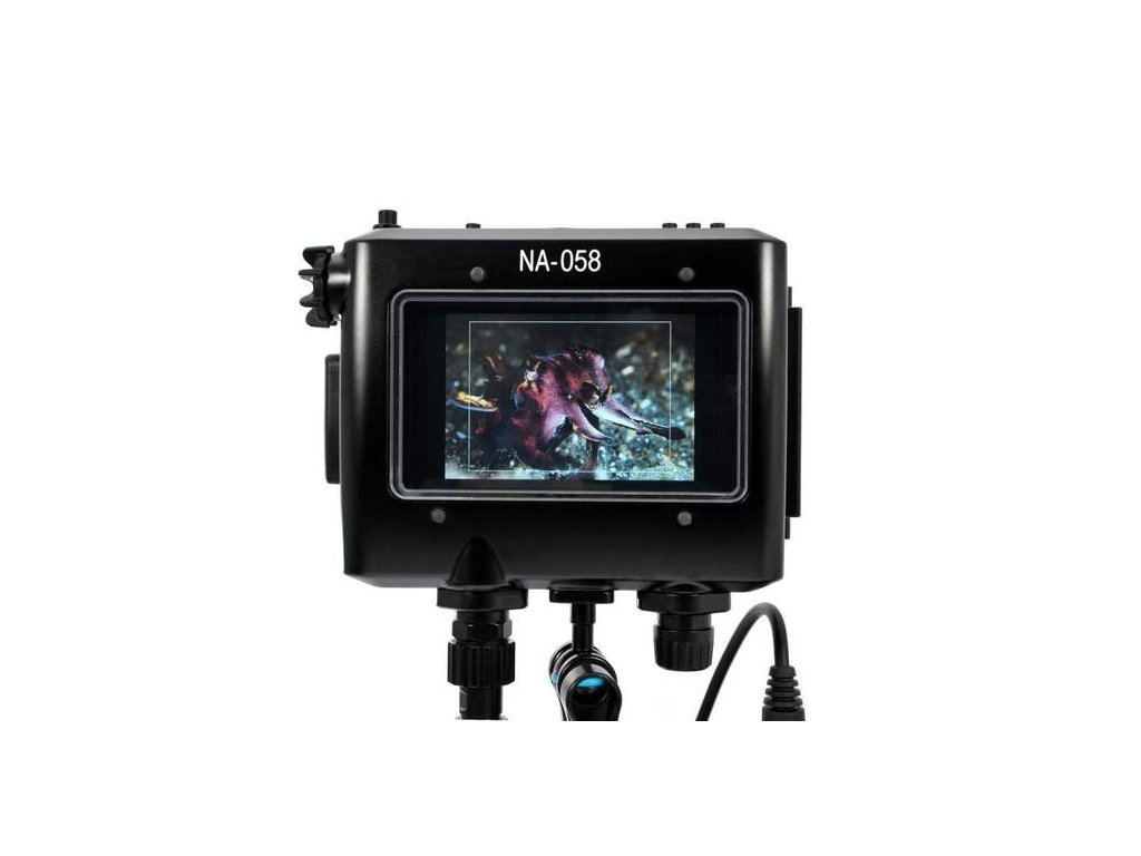 """Nauticam NA-058 housing for TVLogic VFM-058W 5.5"""" Full HD Viewfinder Monitor with HDMI and SDI bulkheads and cables"""