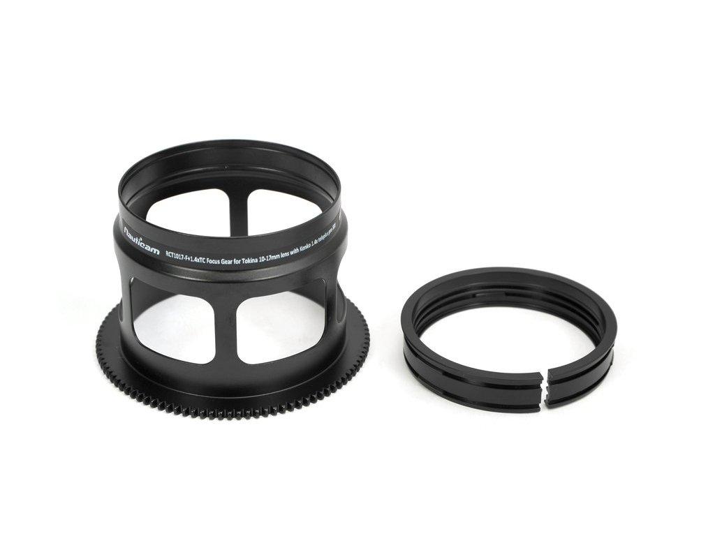 Nauticam RCT1017-F+1.4xTC Focus Gear for Tokina 10-17mm lens with Kenko 1.4x teleplus pro 300