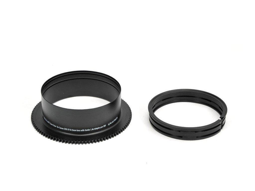 Nauticam RC815-Z+1.4xTC Zoom Gear  for Canon EOS EF 8-15mm lens with Kenko 1.4x teleplus pro 300