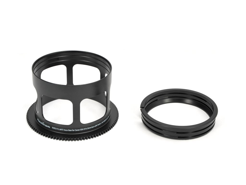 Nauticam RC815-F+1.4xTC Focus Gear for Canon EOS EF 8-15mm lens with Kenko 1.4x teleplus pro 300