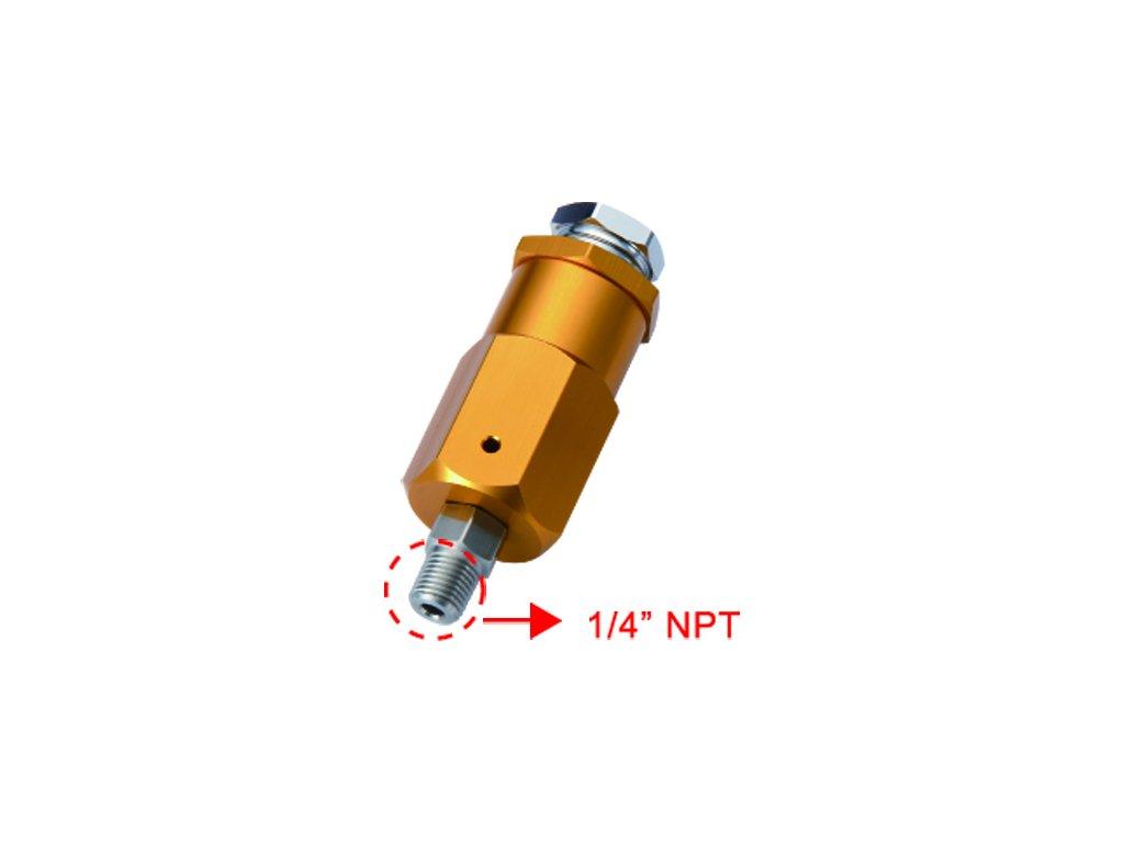 """JTLine HP pojistný ventil, seřiditelný 1/4"""" NPT, 0-210 bar"""