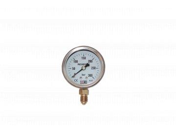 JTLine manometr průměr 63mm, stupnice 300 bar, nerez, kryt, odchylka 2%