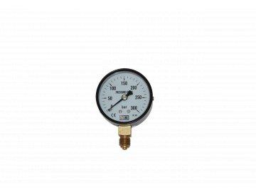 JTLine manometr průměr 63mm, stupnice 300 bar, černý plech, kryt, odchylka 1.6%
