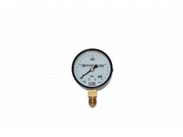JTLine manometr průměr 63mm, stupnice 400 bar, černý plech, kryt, odchylka 1.6%