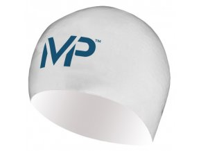 Plavecká čepice race cap bílá modrá