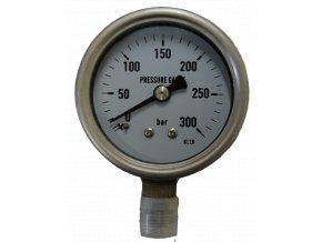 JTLine manometr průměr 63mm, stupnice 300 bar, nerez, odchylka 1%