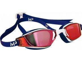 Michael Phelps Aqua Sphere plavecké brýle XCEED RED, titanově zrcadlový zorník, modrá/bílá