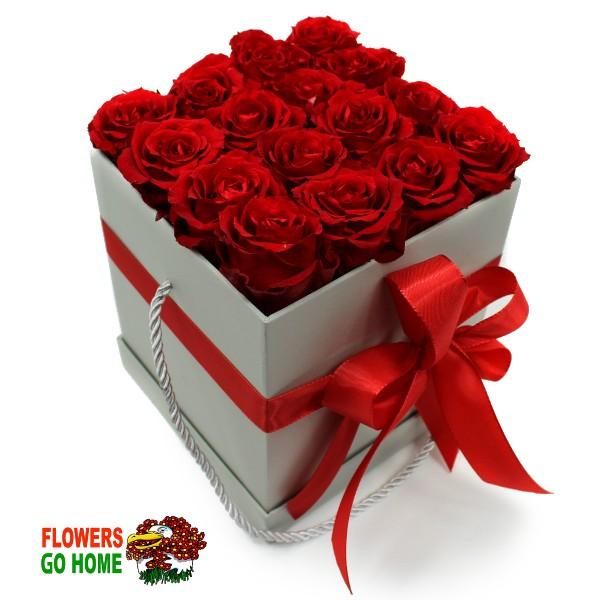 Stabilizované růže v krabici